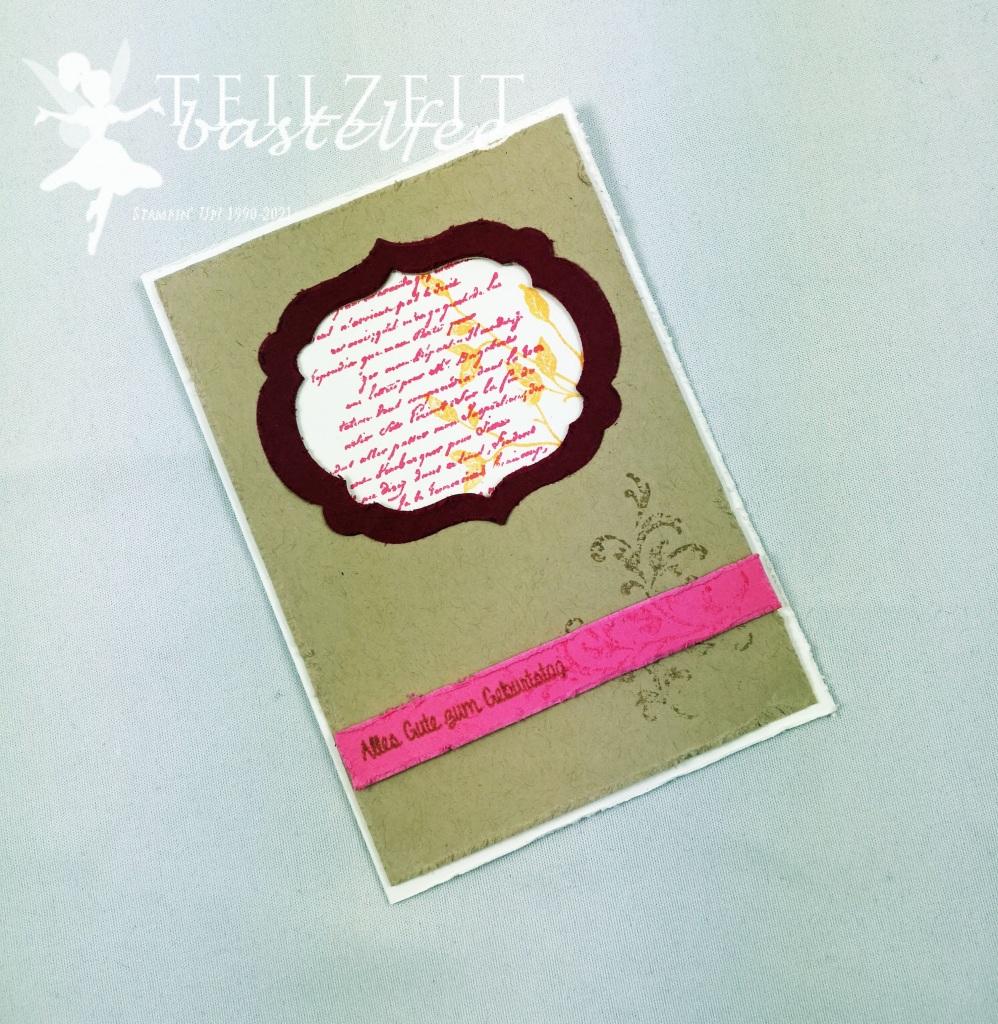 Stampin' Up! - Inkspire_me, Sketch Challenge, Color Challenge, Very Versailles, Gorgeous Grunge, Vintage Card, Distressed