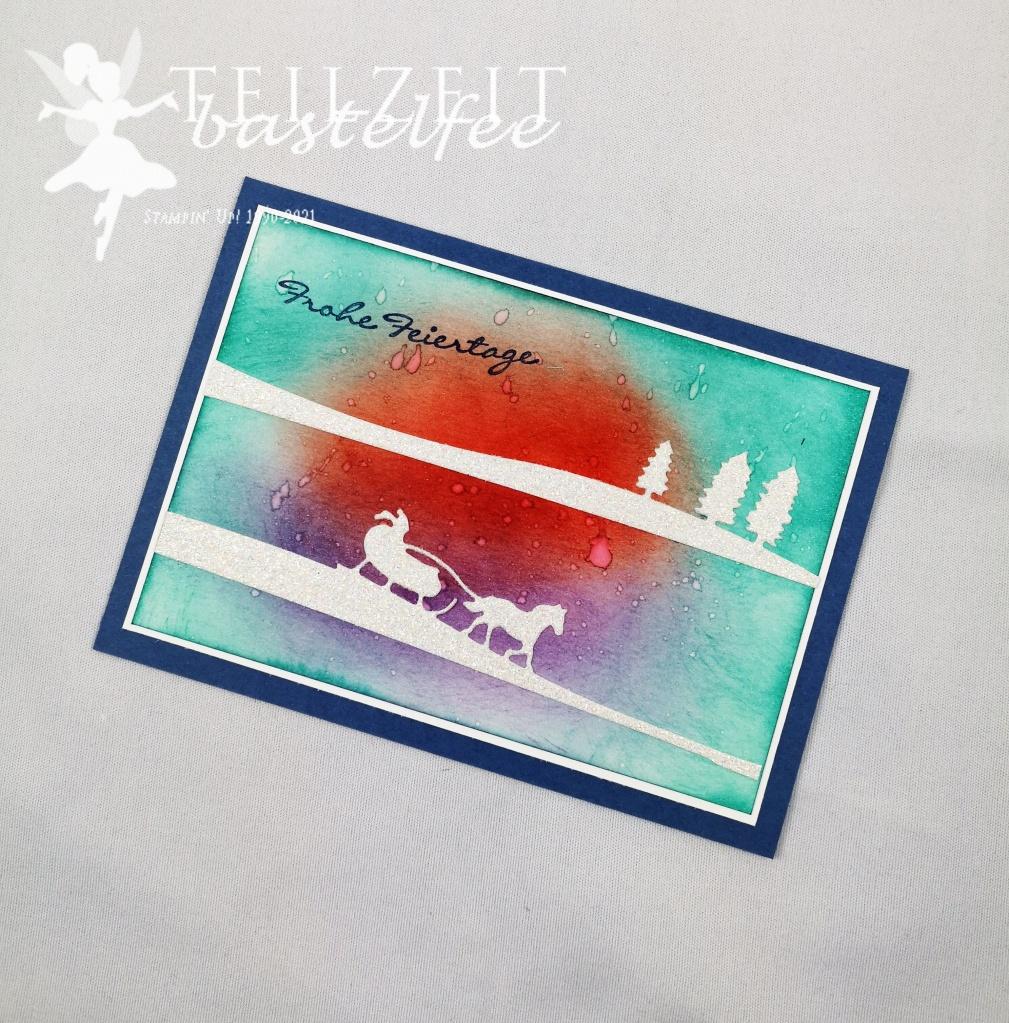 Stampin' Up! - Inkspire_me, Color Challenge, Sleighride Edgelits, Kling Glöckchen, Christmas, Weihnachten, Sponge-Technique, Jingle all the way